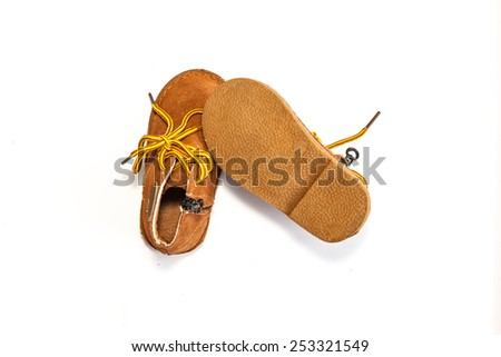 Children's shoes on a white background.Fashion leather shoes for kids.