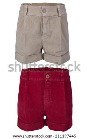 Children's shorts isolated on a white background - stock photo