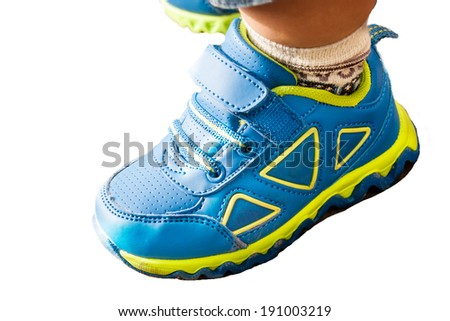 Children's sports shoes, very bright color - isolated