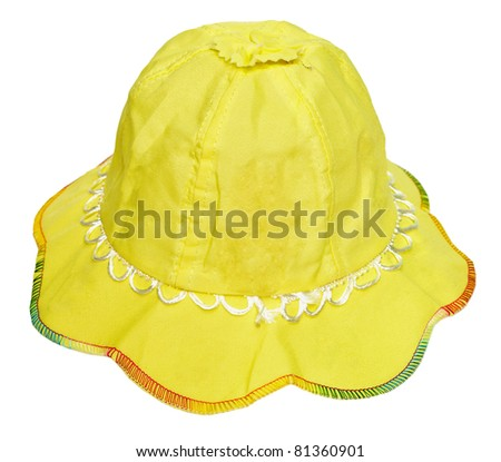 Children's summer yellow hat isolated on white background
