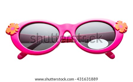 Children's sunglasses with flower decoration on white - stock photo