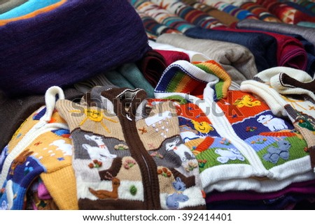 Children's sweaters in the Otavalo Market