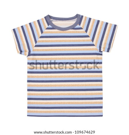 Children's t-shirt isolated on white background. Clipping paths included. - stock photo