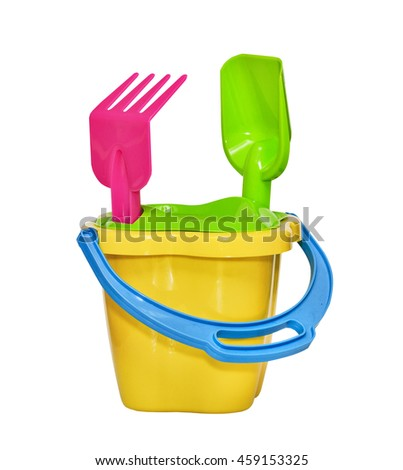 Children's toy, bucket, the scoop and rake for a sandbox isolated on white