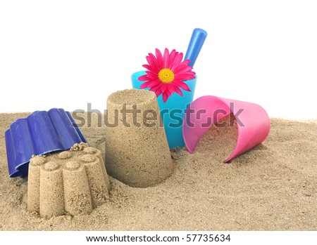 Children's toys for the game in the sand - stock photo