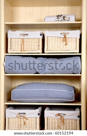 Children's wardrobe with shelves - stock photo