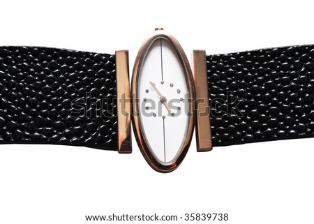 Children's watches. Close-up. Isolated on a white background. - stock photo
