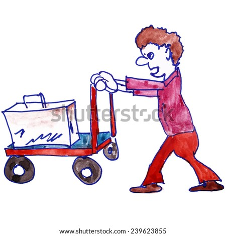 Children's watercolor drawing porter, luggage cartoon on a white background - stock photo