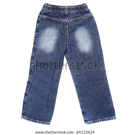 Children's wear - blue jeans isolated over white background (rear view)