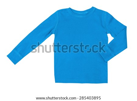 Children's wear - blue long sleeve isolated on the white background - stock photo