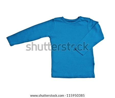 Children's wear - blue shirt isolated over white background - stock photo