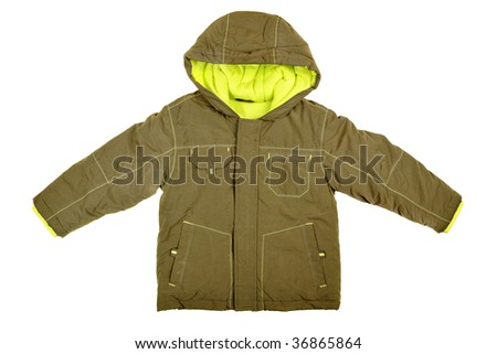 Children's wear - coat with hood isolated over white background - stock photo