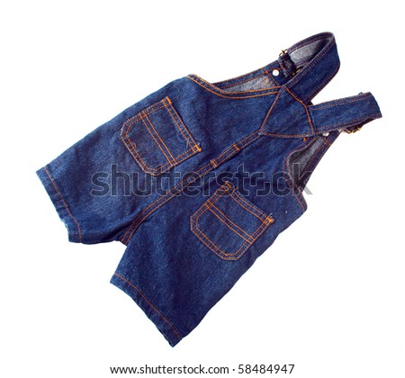 Children's wear - jean overalls isolated over white background - stock photo
