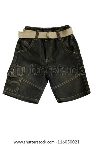 Children's wear - jean shorts isolated on a white background - stock photo