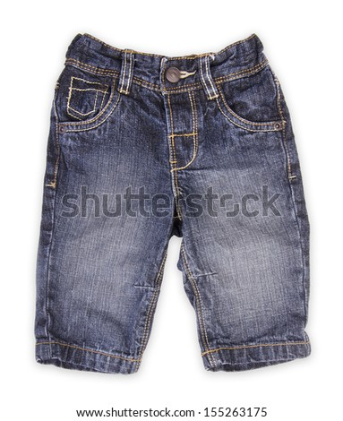 Children's wear - jeans isolated over white background. - stock photo