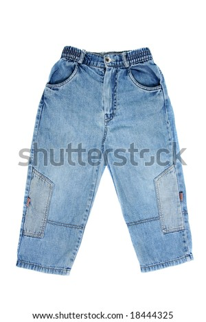 Children's wear - jeans isolated over white background