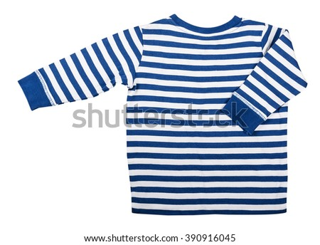 Children's wear -  kid's blue striped long sleeve isolated on the white background - stock photo