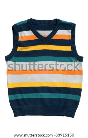Children's wear - sleeveless pullover isolated on a white background - stock photo
