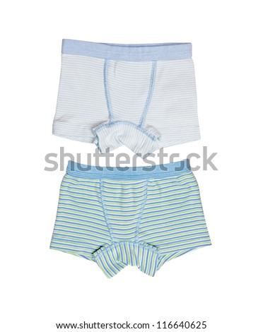 Children's wear - striped pants isolated on a white background - stock photo