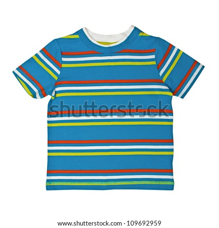 Children's wear - striped shirt isolated over white background - stock photo