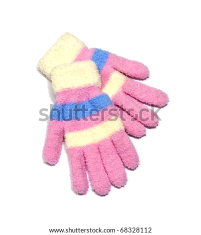 Children's wear - woollen gloves isolated over white background. - stock photo