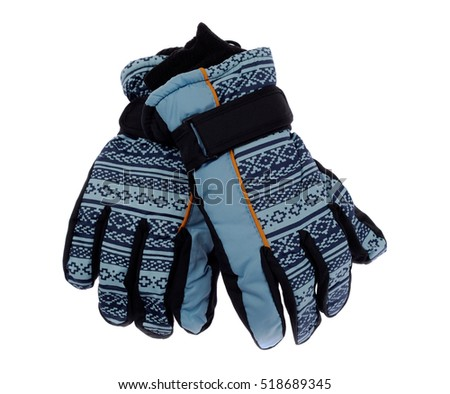 Children's winter gloves, isolate on a white background