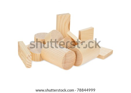 Children's wooden blocks for the game, isolated on white. - stock photo