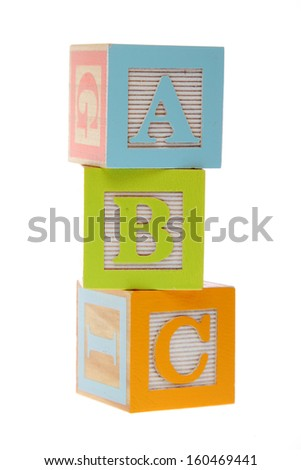 Children's wooden blocks with letters on the study of writing and reading for children' - stock photo
