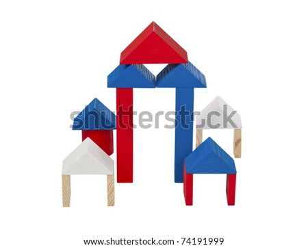 Children's wooden building blocks. Isolated on white background.