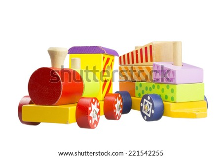Children's wooden colorful steam locomotive on a white background
