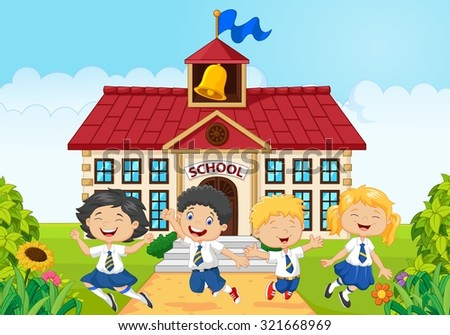 Children school jumping together on school building background