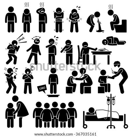 Children Sick Sickness Ill Illness Disease Flu Problem Health Stick Figure Pictogram Icons - stock photo