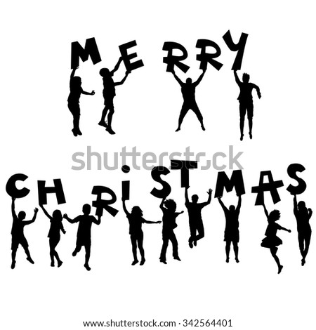 Children silhouettes with Merry Christmas message