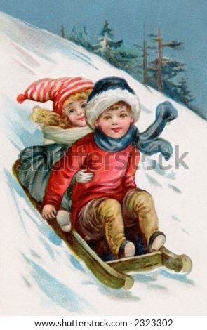 Children sledding - a 1911 vintage illustration - stock photo