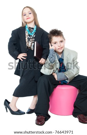 Children, small business people isolated on white - stock photo