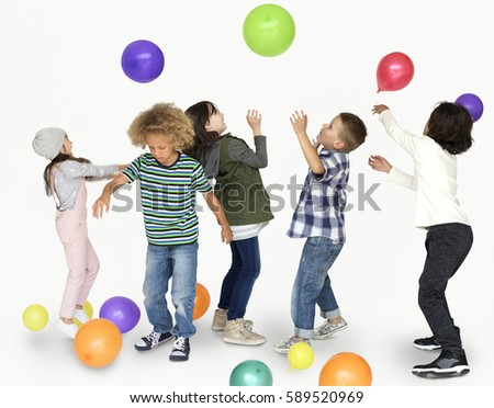 Children Smiling Happiness Playing Balloon