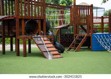 children Stairs Slides Playground equipment - stock photo