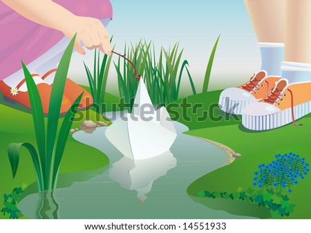 Children start a paper ship on a stream. a vector illustration. - stock photo