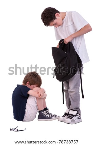 children suffering from bullying by a teen, isolated on white, studio shot - stock photo
