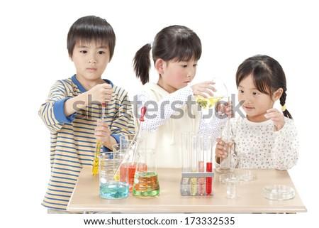 Children testing it - stock photo