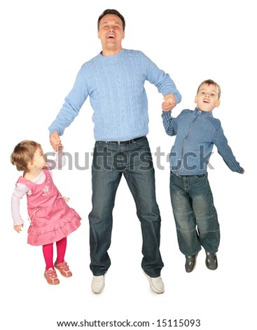 Children to keep for hands of father and jump. focus on children