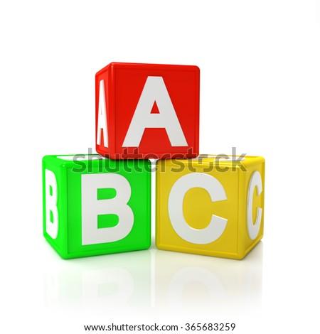 Children Toy Blocks isolated on white background - stock photo