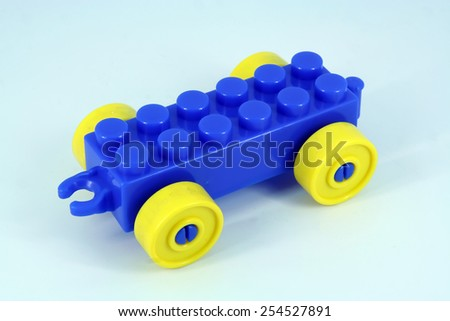 Children toy. Blue car toy. Kids toy. - stock photo