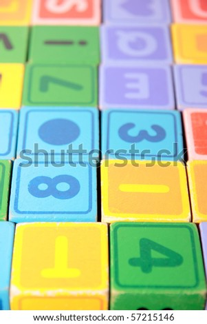 children toy letter building blocks all together - stock photo