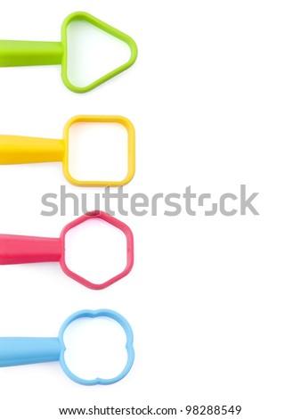 Children toy tools Children's plastic tools isolated on white - stock photo