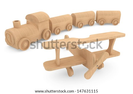 Children toy wooden train and airplane on a white background - stock photo