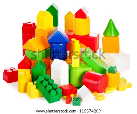 Children toys with cubes. Isolated. - stock photo