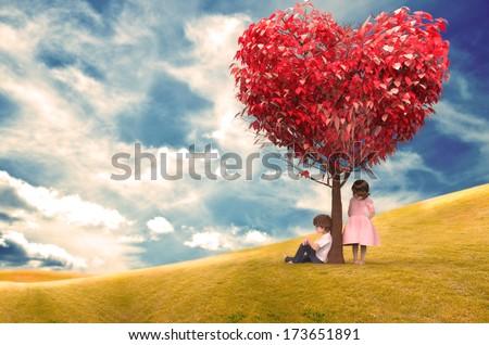 Children Under a Tree Heart - stock photo