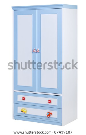 Children wardrobe isolated on white, with clipping path - stock photo