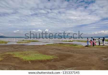 Children watch the birds on Lake Nakuru National Park - Kenya, Eastern Africa - stock photo